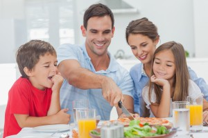 man happy in committed relationship with his family